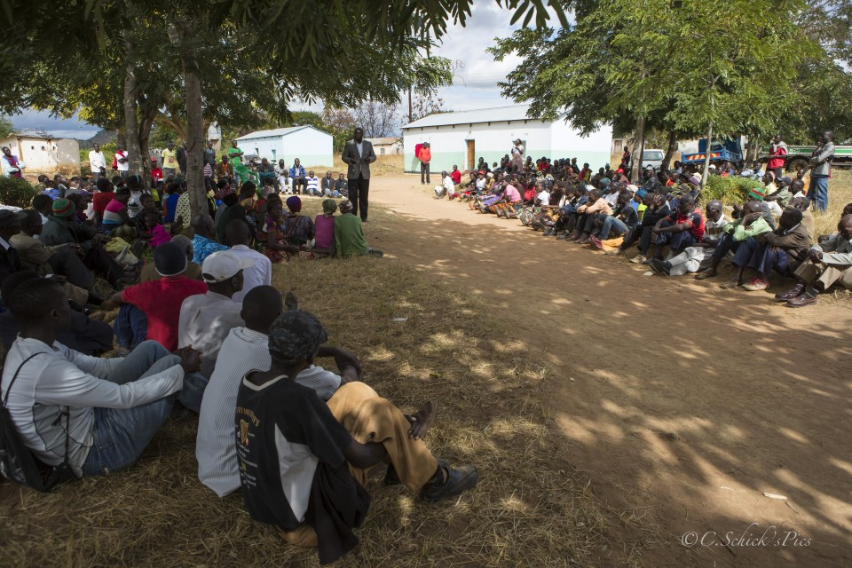 Moses Moyer speaks to supporters at the Kalunga Farmers co in the Khova Ward in Zambia, on June 7, 2016. -- (Crystal Schick/Independent Photojournalist)